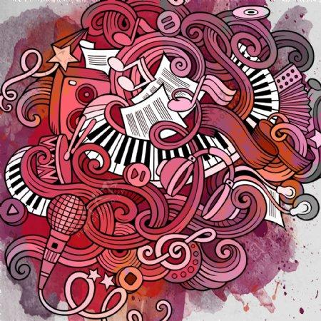 水彩涂鸦创意音乐背景