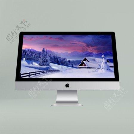 正面苹果台式iMac膜显示模型样机