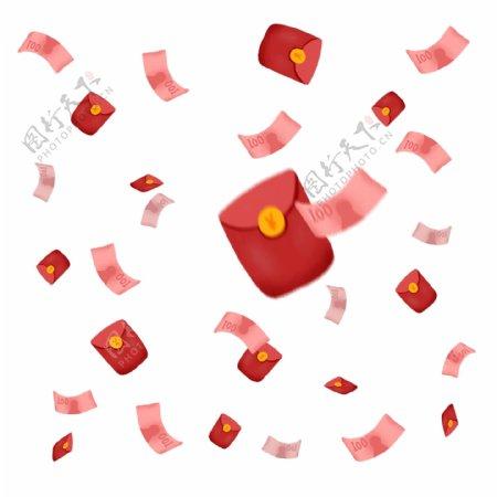 漂浮元素之理财红包钞票人民币金钱