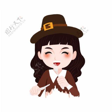 吃西餐的戴帽子的开心少女卡通元素