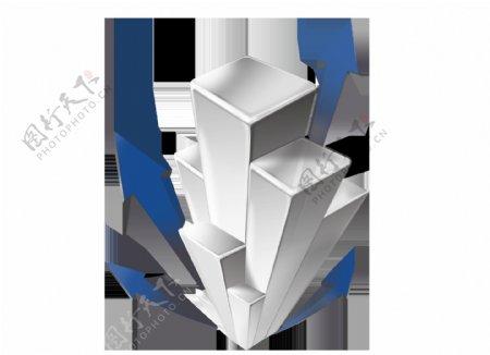 卡通立体长方形蓝色箭头png元素
