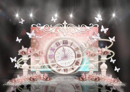 粉色时光蝶恋罗马柱雕花水彩背景婚礼效果图