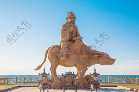 居延海老子骑牛塑像