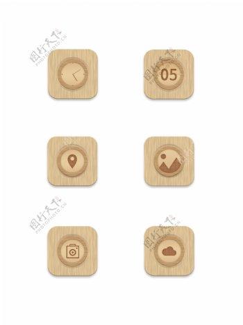 简约木纹手机主题图标icon设计