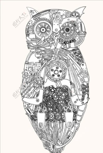 机器猫头鹰矢量图