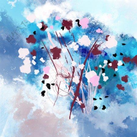水墨抽象装饰画油画无框床头画