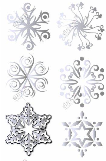 欧洲风格花纹银色雪花装饰