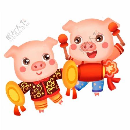 2019猪兄弟敲锣打鼓