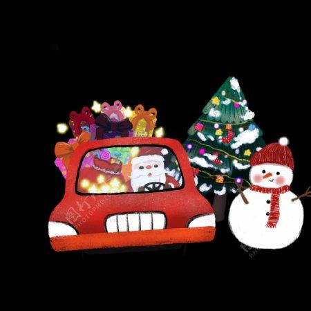 手绘红色圣诞老人开车送礼物png免抠图