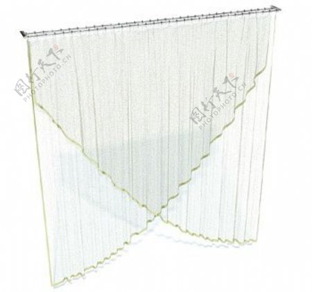 纯白轻纱窗帘3d模型