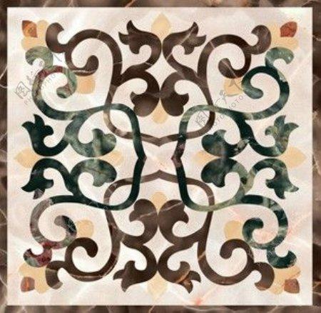 中式现代图案瓷砖贴图
