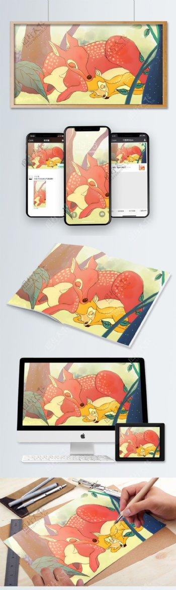 彩色儿童绘本鹿森林插画
