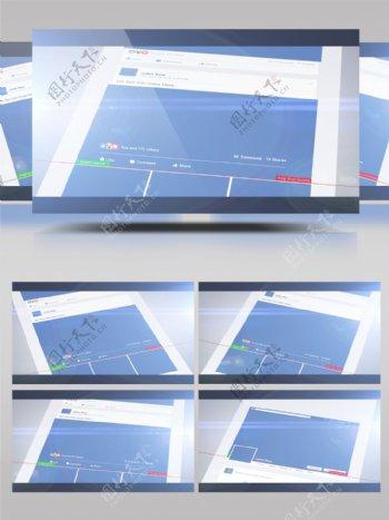 社交博客上的3d立体照片展示特效ae模板