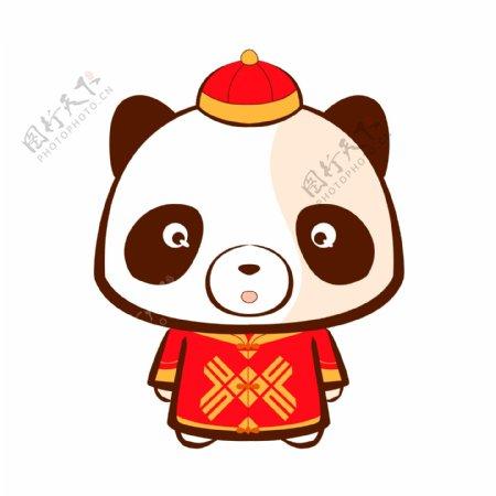 熊猫中山装表情包表情设计