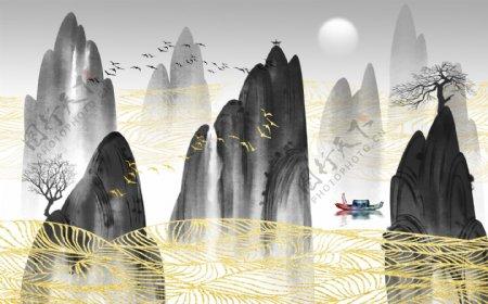 中式水墨抽象创意线条玄关屏风电