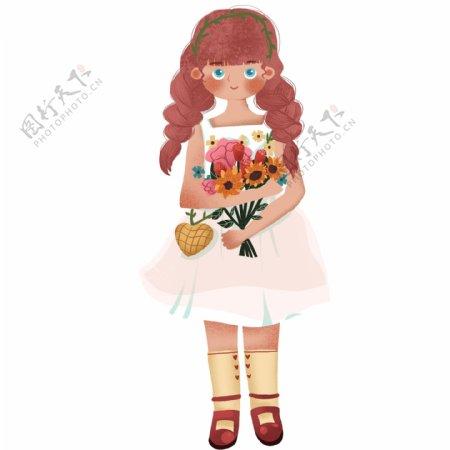 复古手捧鲜花的女童