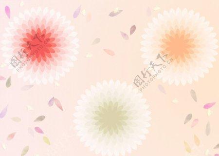 三色对称图案花朵素材