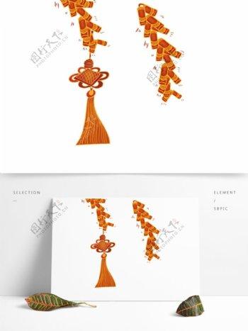 手绘新年鞭炮中国结元素设计