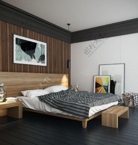 卧室简约木质装修风格max效果图