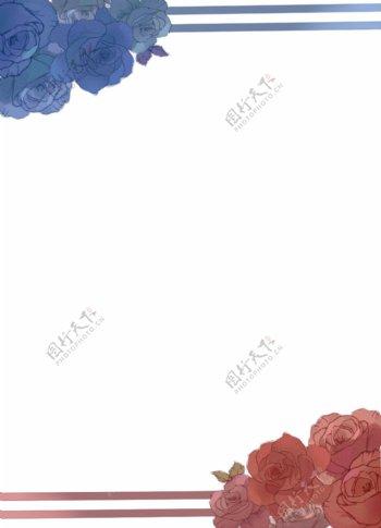 蓝玫瑰红玫瑰浪漫古典边框