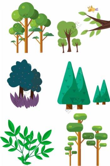 春天绿植大树绿叶草木合集