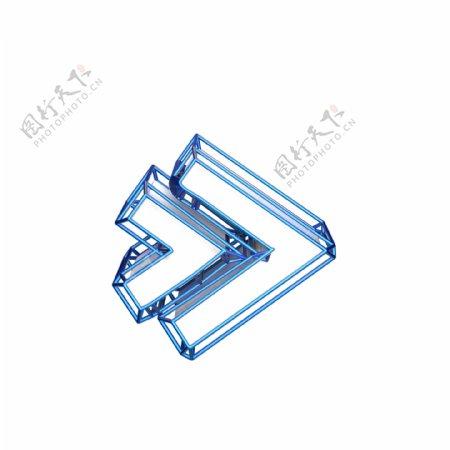 3D炫酷蓝色箭头装饰