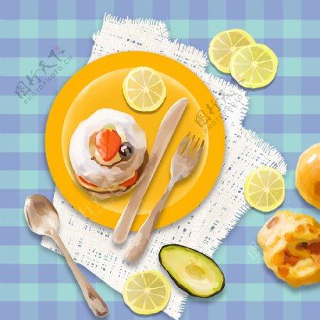 卡通早餐格子桌布蓝色背景素材