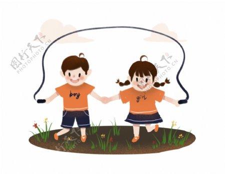 卡通手绘可爱男女童快乐手拉手草地跳绳场景