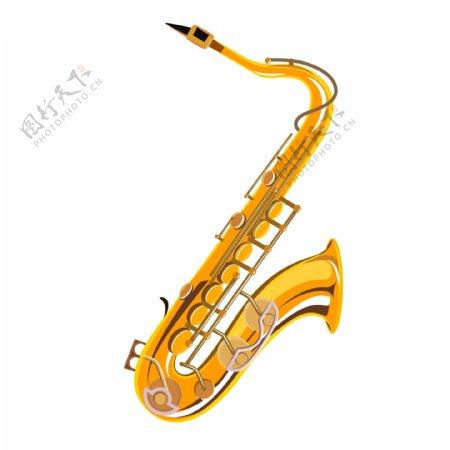 乐器手绘铜管乐器萨克斯矢量元素