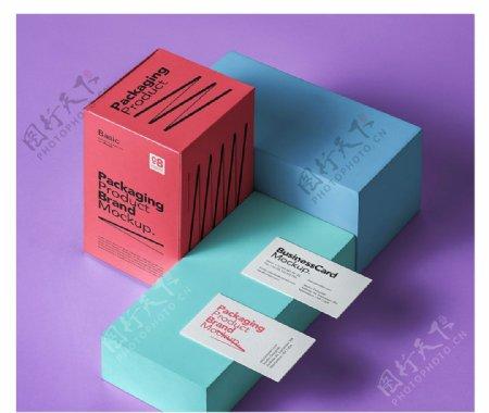 渲染模型的几个盒子和名片样机