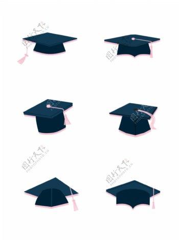 手绘毕业季博士帽学士帽元素