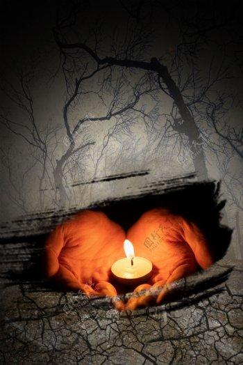 蜡烛祈祷简约自然灾害干旱