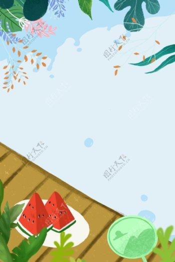 夏天吃西瓜场景蓝色背景素材