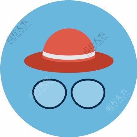扁平帽子眼镜app图标