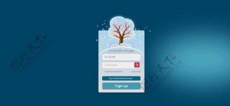 下雪樱花树登录框UI素材