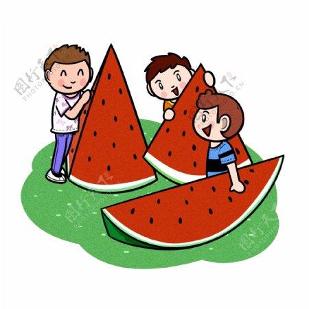 卡通儿童夏天吃大块西瓜png透明底