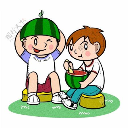 卡通儿童夏天开心吃西瓜png透明底