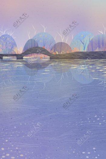 蓝色紫色系列唯美自然古典风格背景图