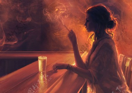 抽烟的女人