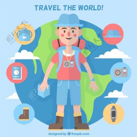 扁平化背包旅行男子和地球矢量图