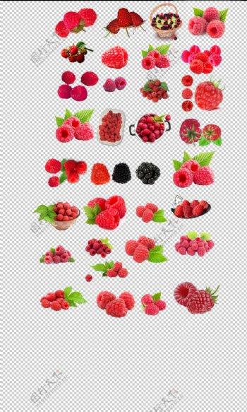覆盆子新鲜水果红色覆盆子素材