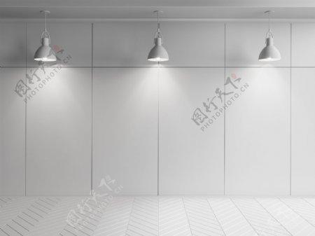 三个射灯灰色空间背景