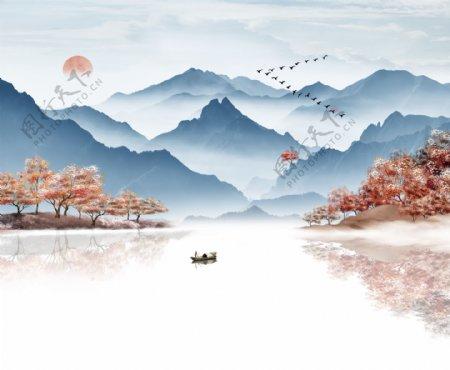中式水墨抽象山水背景墙
