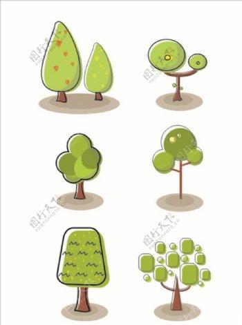 手绘卡通植物树