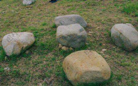 草地上的大石头