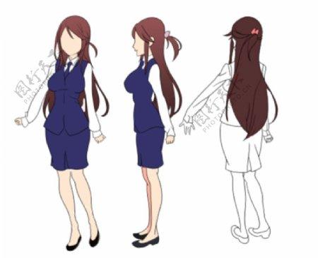 手绘卡通动漫美女人物三视图