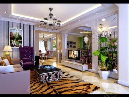 浦东金桥别墅客厅欧式风格设计
