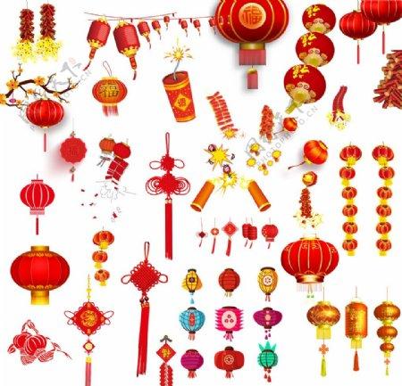 春节素材灯笼鞭炮