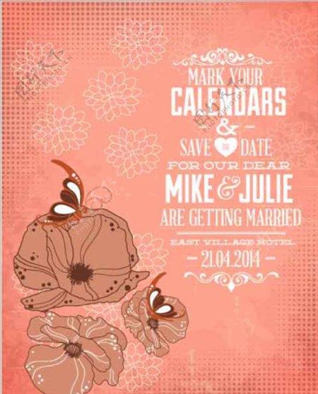 复古粉红色封面背景设计花朵蝴蝶