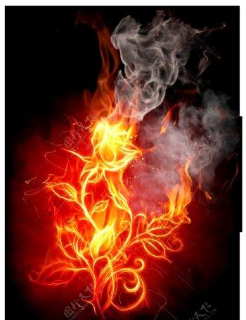 火爆炸火焰背景烟雾
